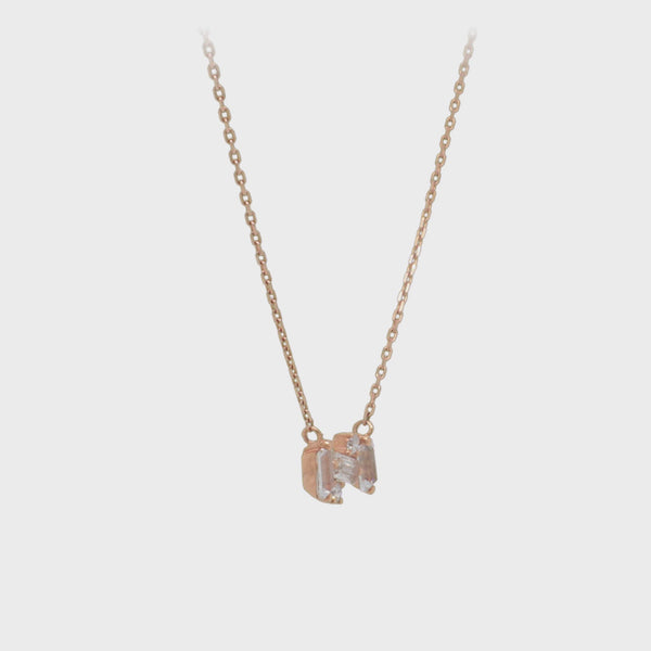 Mini Bar Necklace with White Topaz