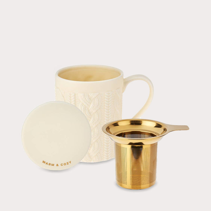 Ceramic Knit Tea Mug and Infuser