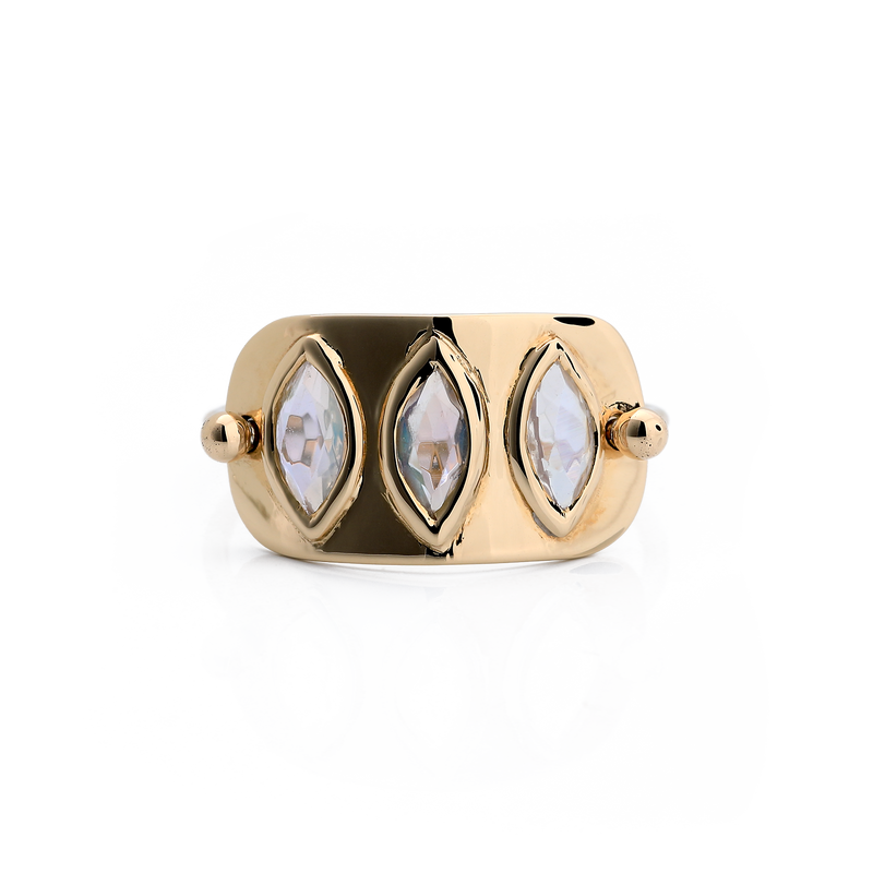 Three Marquise Rainbow Moonstone Ring