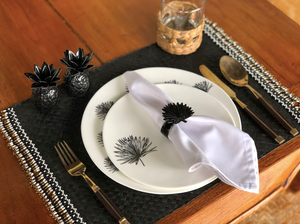 Set of 6 black placemats with gold, black and white beads