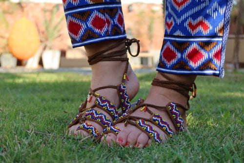 Beaded Sandals with colorful beads