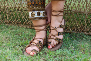 Beaded Sandals with black and gold beads