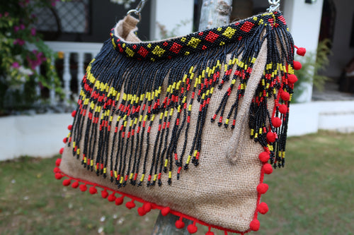 Veronica Beaded Jute Bag