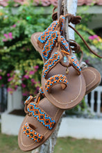 Load image into Gallery viewer, Beaded Sandals with orange and blue beads