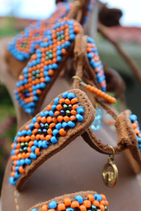 Beaded Sandals with orange and blue beads