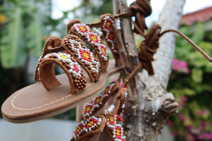 Beaded Sandals with red and yellow beads