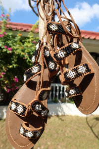 Beaded Sandals with black, white and gold beads
