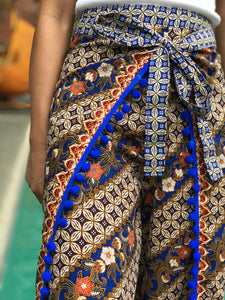 Bulalak with blue pompoms batik pants