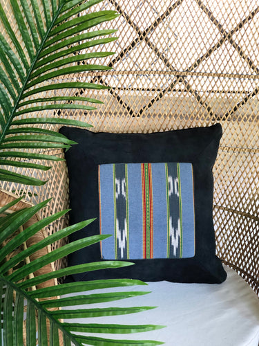 Malo, black and blue textile pillow