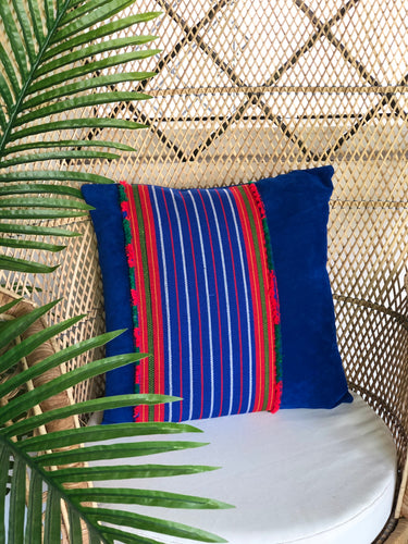 Celeste, blue textile pillow