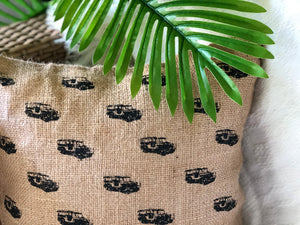 Mini jeepney jute pillowcase
