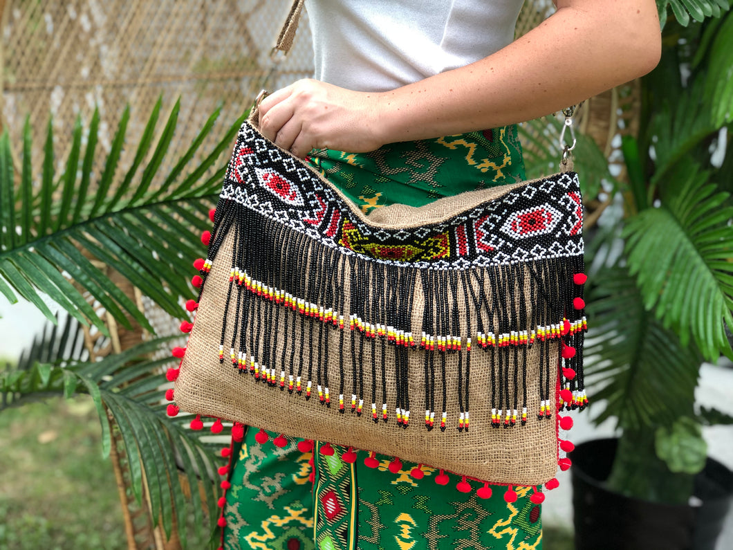 Mimi Beaded Jute Bag