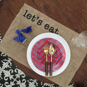 Let's eat placemat, set of 6 pieces.