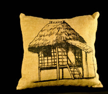 Load image into Gallery viewer, Bahay Kubo jute pillowcase