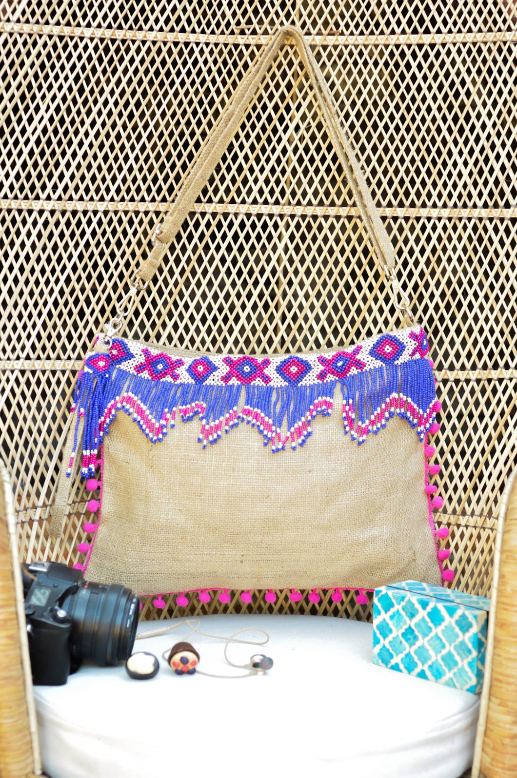 Rosie Beaded Jute Bag