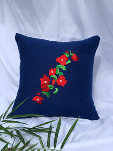 Bougainvillea embroidered pillowcase in blue