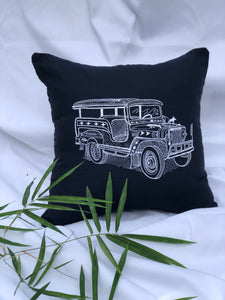 Jeepney embroidered pillowcase in navy blue