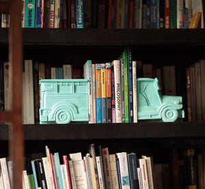 Mint green jeepney bookends