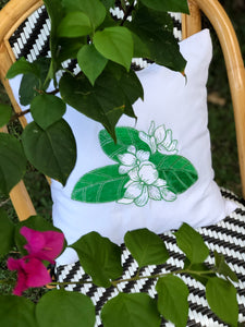 Sampaguita  embroidered pillowcase in white