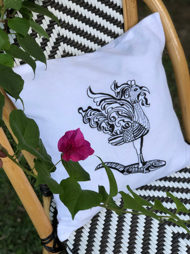 Sarimanok embroidered pillowcase in white