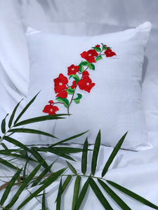 Bougainvillea embroidered pillowcase in white