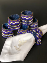 Load image into Gallery viewer, Beaded banig napkin rings in blue