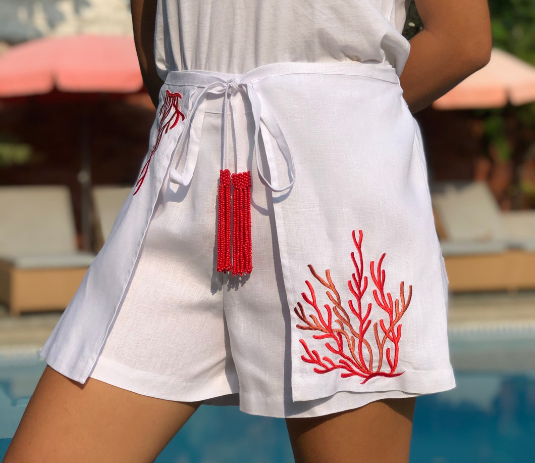 White coral shorts with red embroidery