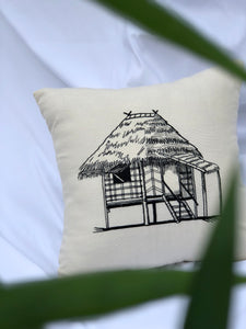 Bahay kubo embroidered pillowcase in creme