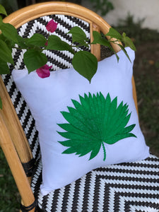 Anahaw embroidered pillowcase in white