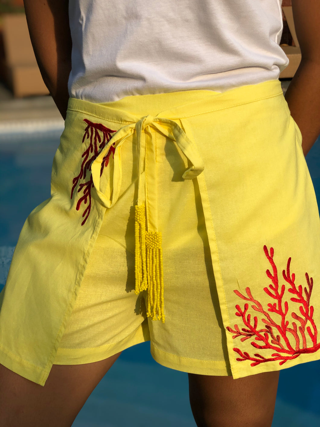 Yellow coral shorts