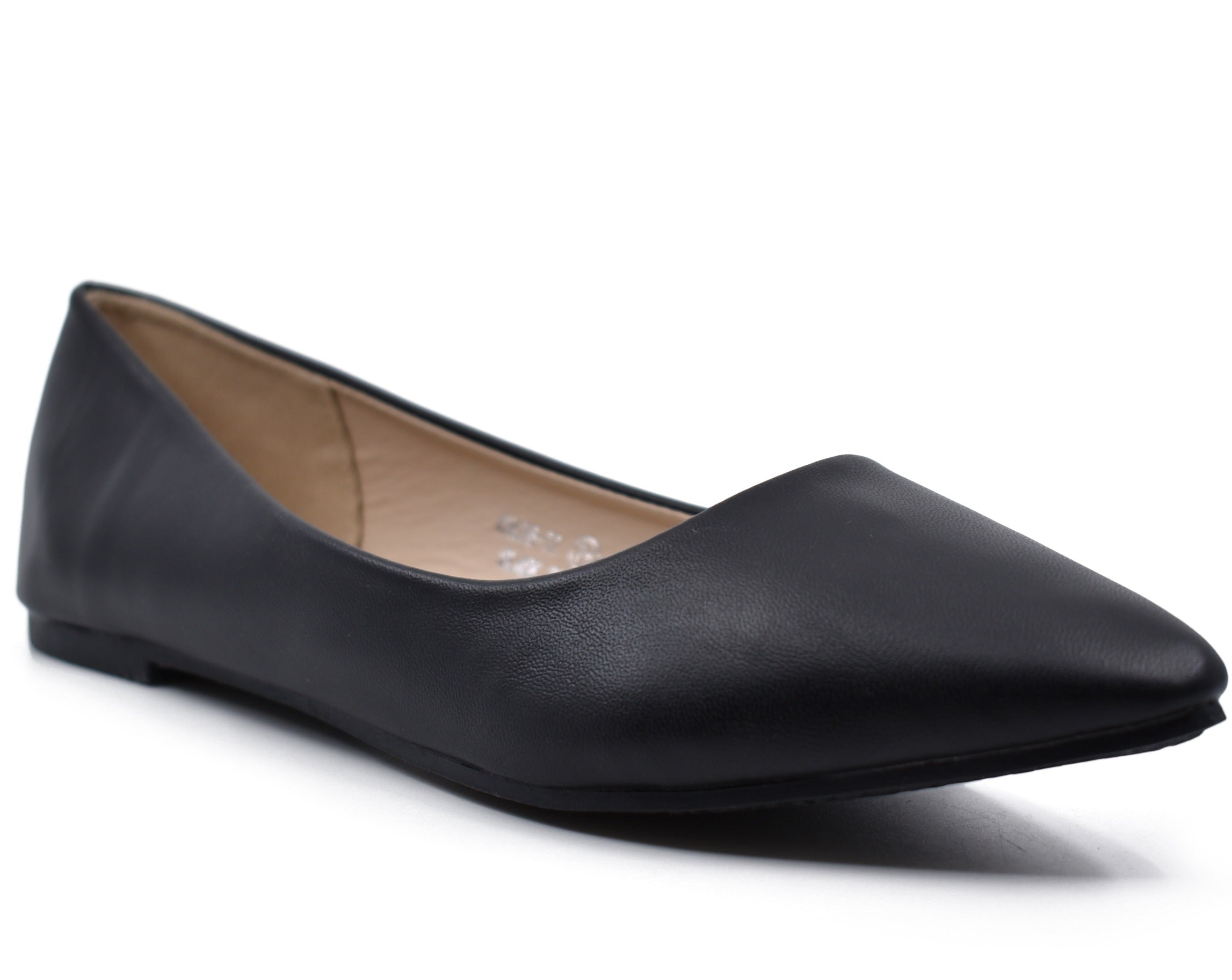 Angie Faux Leather Pointed Toe Ballet Flats
