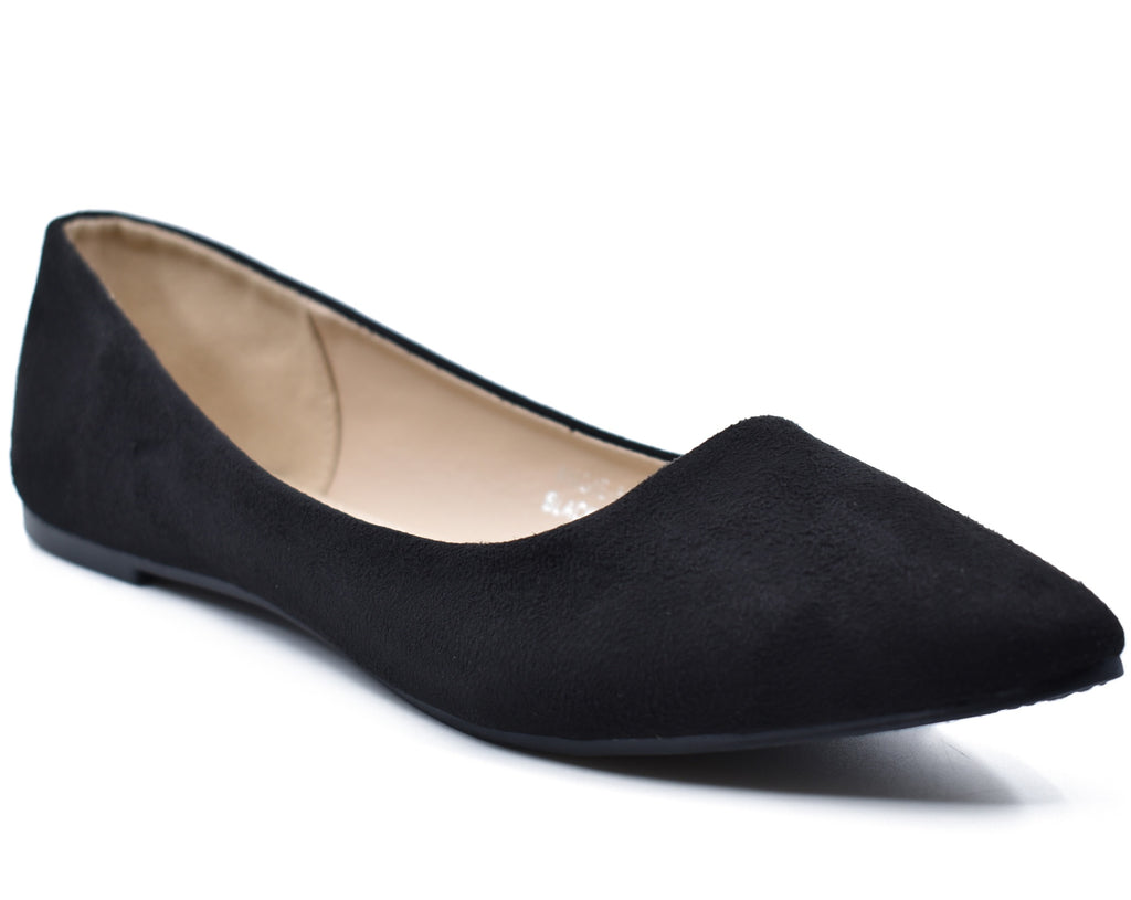 Angie Faux Suede Pointed Toe Ballet Flats