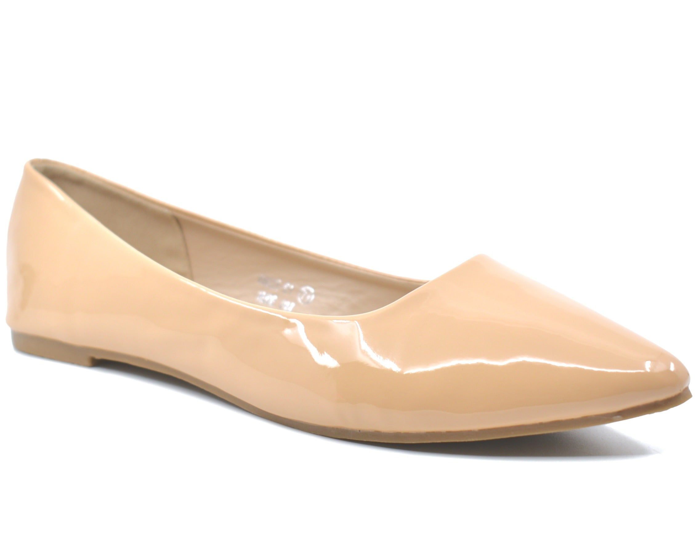 Angie Faux Patent Leather Pointed Toe Ballet Flats