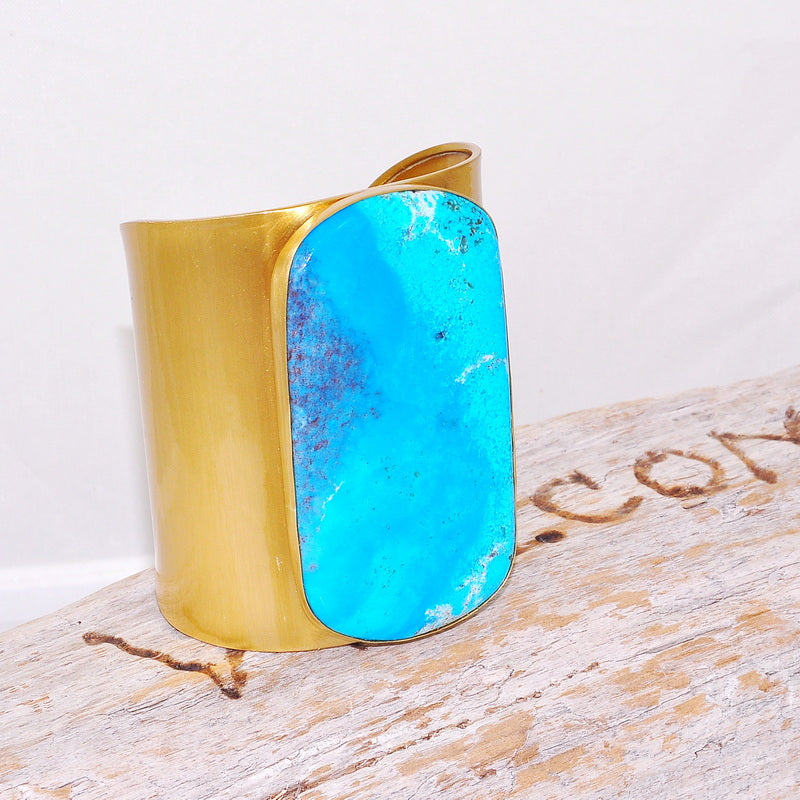 Charles Albert Matte-Finished Alchemia Huge Square Sleeping Beauty Turquoise Cuff Bracelet
