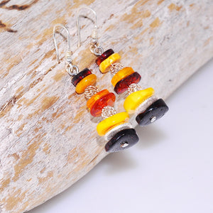Sterling Silver Baltic Honey, Butterscotch and Cherry Amber Stacked Hook Earrings