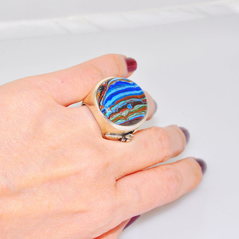 Bold Sterling Silver Rainbow Calsilica Medallion Circle Ring Size 5.5