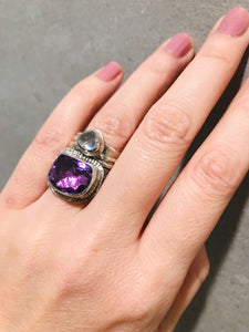 Sterling Silver Amethyst and Moonstone Wide Banded Ring SIZE 6