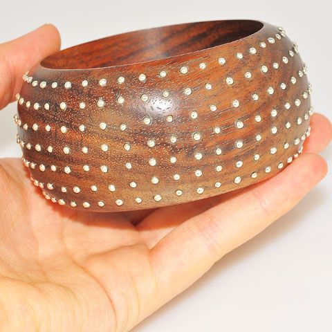 Wood and Sterling Silver Studded Bracelet