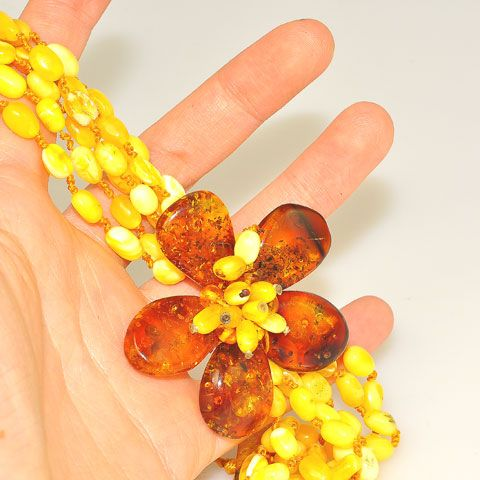 Baltic Multi Amber Flower Bracelet