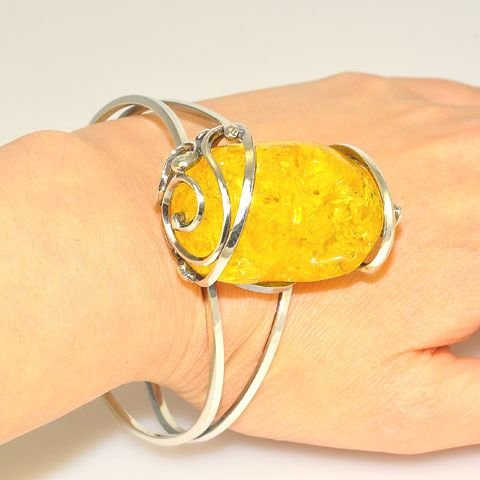 Sterling Silver Baltic Honey Amber Cuff Bracelet