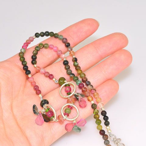 Sterling Silver Rainbow Tourmaline Bead Necklace