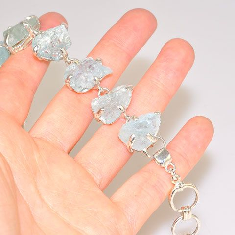 Sterling Silver 64.2-Carat Rough Aquamarine Bracelet