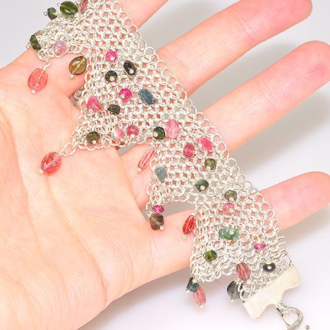 Sterling Silver Pink and Green Tourmaline Lattice Bracelet