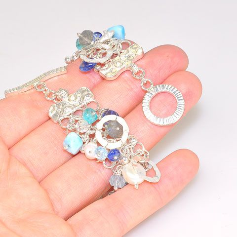 Sterling Silver Larimar, Kyanite and Aquamarine Bracelet