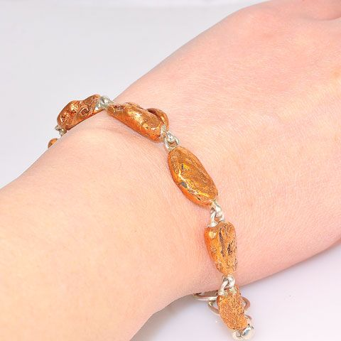 Sterling Silver Copper Nugget Link Bracelet