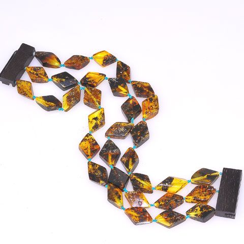 Baltic Amber Three Band Beaded Bracelet