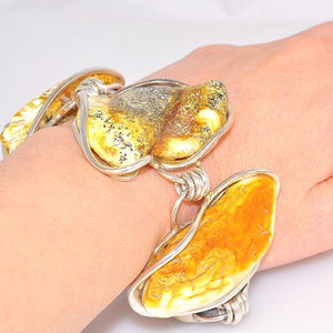 Sterling Silver Baltic Butterscotch Amber Bracelet
