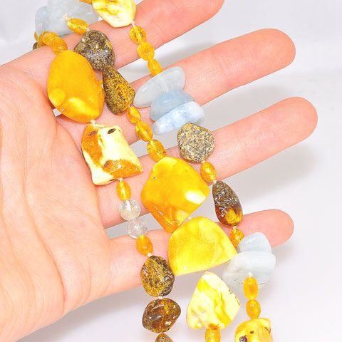 Baltic Butterscotch Amber, Baltic Honey Amber and Aquamarine Toggle Clasp Bracelet
