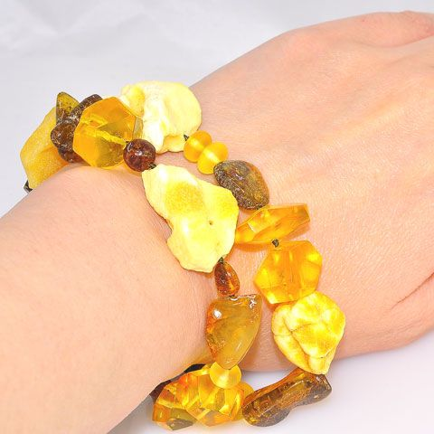 Baltic Honey, Butterscotch, and Citrine Amber, Faceted Baltic Honey Amber and Ebony Wood Toggle Clasp Bracelet