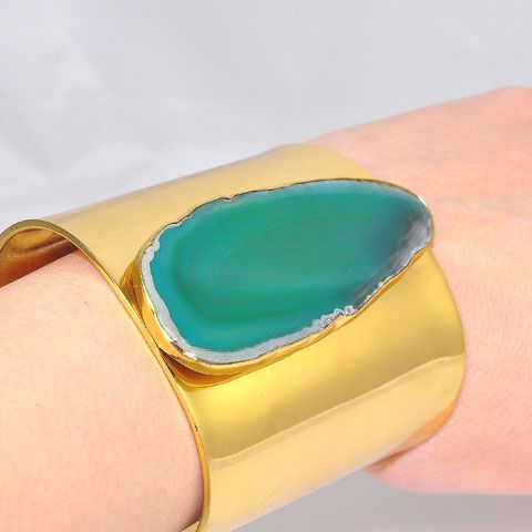 Charles Albert Alchemia Green Beach Glass Cuff Bracelet